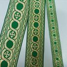Галун 2, 4, 5.5 см зеленый с золотом